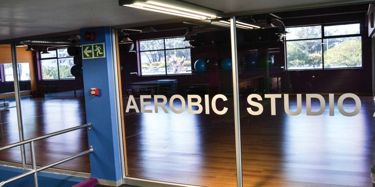 The aerobic studio at Zone Fitness Bellville