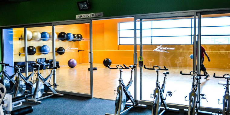 The airy aerobic studio at Zone Parow makes exercising a breeze