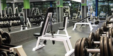 The fully equipped weights area at Zone Rondebosch