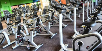 The indoor cycling area at Zone Fitness Cobble Walk