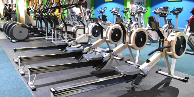 Many of our gyms feature indoor rowing machines for a dynamic workout, pictured here at Sancardia