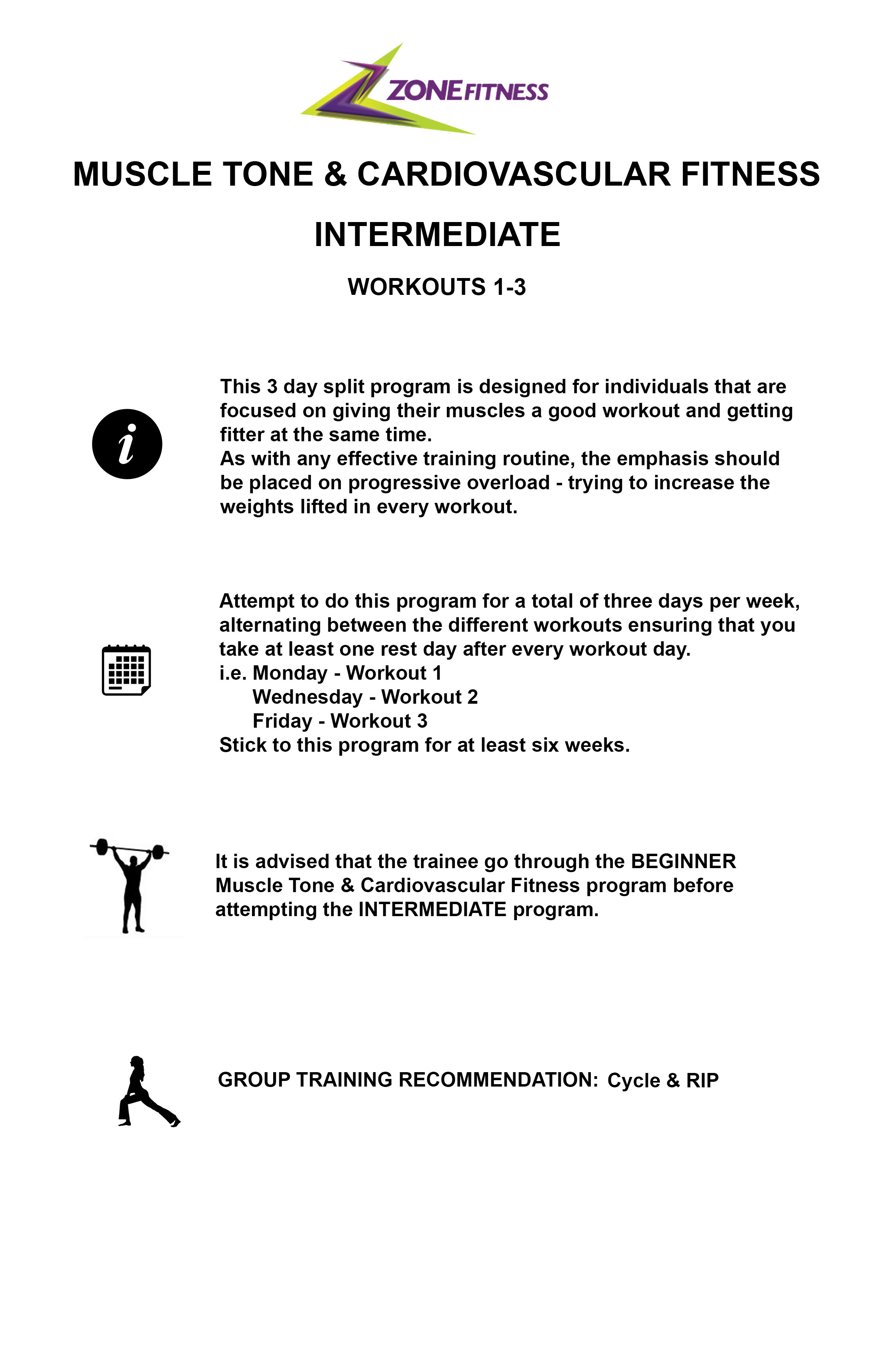 MUSCLE TONE AND CARDIO FITNESS INTERMEDIATE INFORMATION